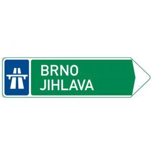 Směrová tabule pro příjezd k dálnici (se dvěma cíly)