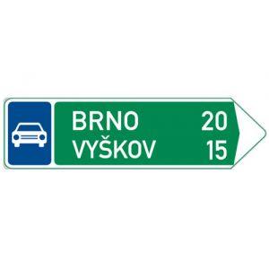 Směrová tabule pro příjezd k silnici pro motorová vozidla (se dvěma cíly)